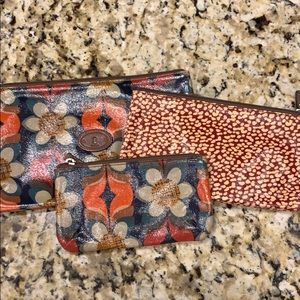 Fossil Set of three Key-per zippered bags